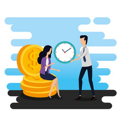 Businesswoman sitting in coins and businessman vector