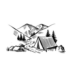 camping in nature near mountains travel theme vector image