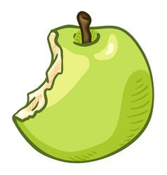 Cartoon bitten green apple vector
