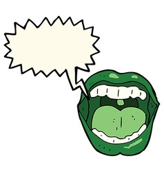 Cartoon halloween mouth with speech bubble vector