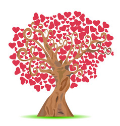 Cartoon red heart tree vector