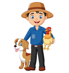 cartoon young farmer with hen and dog vector image