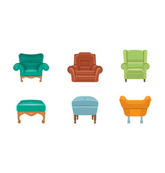 chairs and armchairs set colorful comfortable vector image
