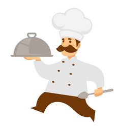 Chief cook or chef carry food tray or cloche vector