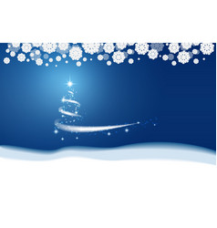 christmas blue background blizzard stars and snow vector image