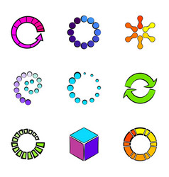 Circle icons set cartoon style vector