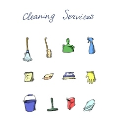 cleaning services doodle icon set vector image