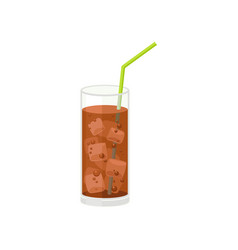 Coca cola with ice in glass with straw vector