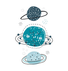 creative space childish print with planets stars vector image