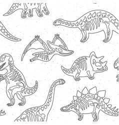 Cute cartoon dinosaur skeletons silhouettes vector