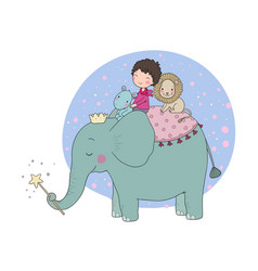 cute cartoon little boy and big elephant vector image