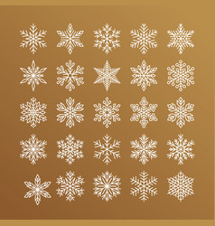 cute snowflakes collection isolated on gold vector image