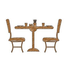 Desk with chairs restaurant vector