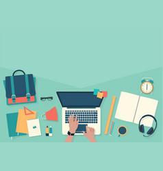Do homework on desktop with laptop banner back to vector
