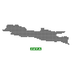 Dotted map of java island and grunge rectangle vector