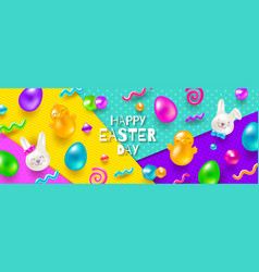 easter greeting card multicolored easter design vector image