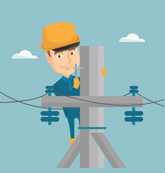 electrician working on electric power pole vector image