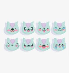 emojis kawaii cartoon faces funny cat set vector image