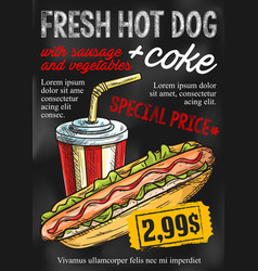 Fast food chalkboard menu design vector