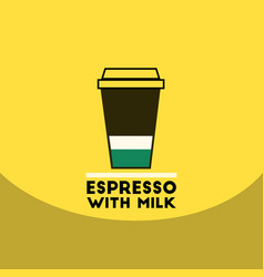 flat icon design collection espresso with milk vector image