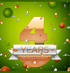 four years anniversary celebration design banner vector image