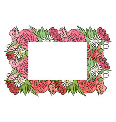frame of hand drawn roses and chamomiles with a vector image