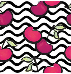 fruit wave seamless pattern with cherry food vector image