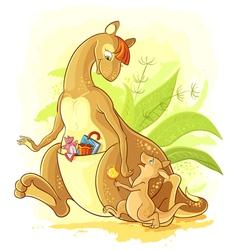 Funny cartoon Mother kangaroo with her baby walk vector image