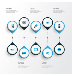 gadget icons colored set with computer sound vector image