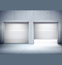 Garage with two entrances composition vector