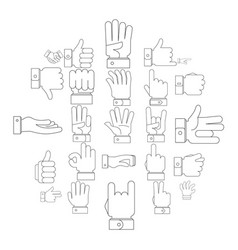 gesture icons set outline style vector image