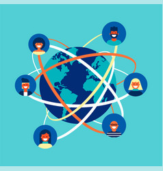 global internet social network people team concept vector image