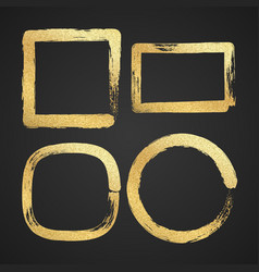 Golden luxury painted grunge border frames vector