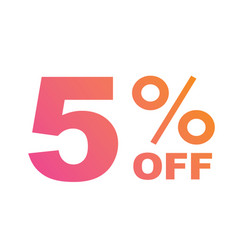 gradient pink to orange five percent off special vector image