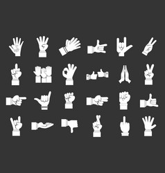 hand sign icon set grey vector image