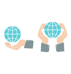 hand with blue globe in retro style vector image