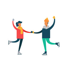 happy couple dancing on skates man and woman vector image