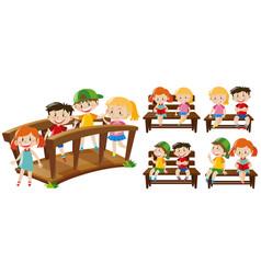 happy kids on seats and bridge vector image