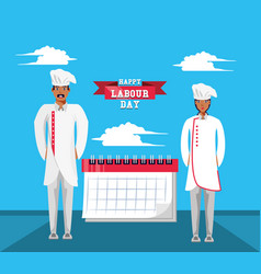Happy labour day with chef and calendar vector