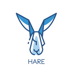 hare logo design blue label badge or emblem vector image