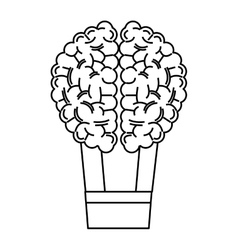 Human brain hot air balloon icon vector