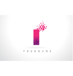 I letter logo with pink purple color and vector