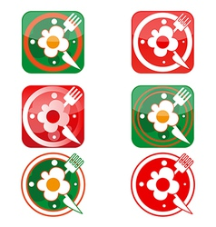 icons in the form of clock with scrambled eggs vector image