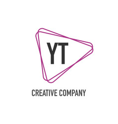 initial letter yt triangle design logo concept vector image