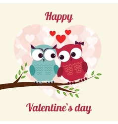 Lovers and happy owls on tree with hearts vector image