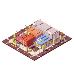 Low poly isometric city block vector