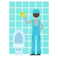 Man Washing Tiles In Bathroom Cleaning Service vector