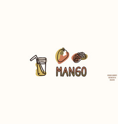 Mango fruit juice with text gender neutral baby vector