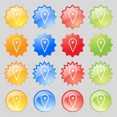map poiner icon sign Big set of 16 colorful modern vector image