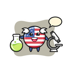 Mascot character united states flag badge as a vector